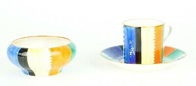 Susie Cooper, Grays Pottery- Geometric Jazz Coffee Cup Can Saucer Sugar Bowl Set