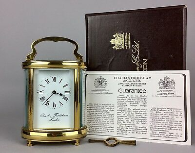 Boxed- Charles Frodsham London Oval Brass/glass Cased Travel Carriage Desk Clock