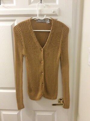 Dress Barn Womens Gold Sparkly V Neck Button Front Cardigan Sweater