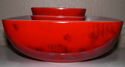 End of the Day Glass Red? Square PYREX Berry/Salad Serving Set 1 Large & 4 Small
