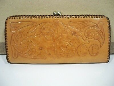 Vintage Leather Brown Lanyard Lace Wallet Hand Tooled Crafted Handmade
