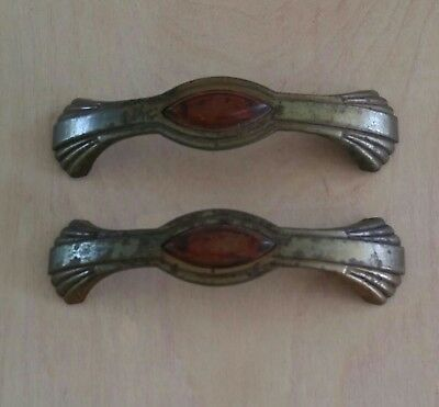 "Antique Brass Plated Steel Bakelite Drawer Pulls 4 1/4"" Bore Lot of 2 Art Deco"