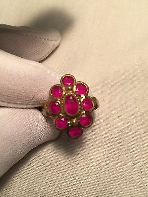 Hand Made Antique Vintage Genuine Color Enhanced Ruby Size 9 Brass Ring