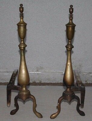 Vintage Brass Fireplace Andirons Fire Firedogs VTG fireplace Tools Log Camp