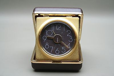 Bulova Vintage Manual Wind Analog Travel Alarm Clock Brown Case Japan