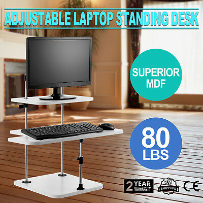 3 Tier Adjustable Computer Standing Desk Stand Up Workstation Easy Install
