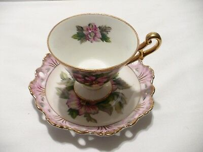 Vtg Lefton China Hand Painted Floral Brushed Gold Footed Teacup Laced Saucer 801