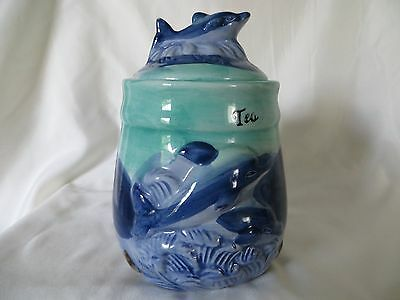 Blue and Green Ceramic Canister with Dolphins