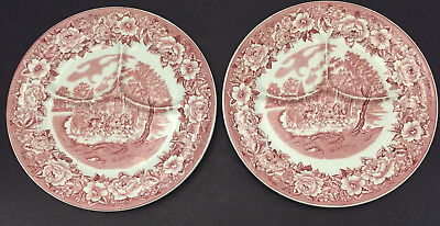 Set of 2 Shenango China Restaurant Ware 3 Sectioned White W/Red Pattern Plate