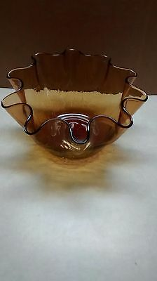 very old Amber Crackle Glass Vase/bowl with Ruffled Rim,