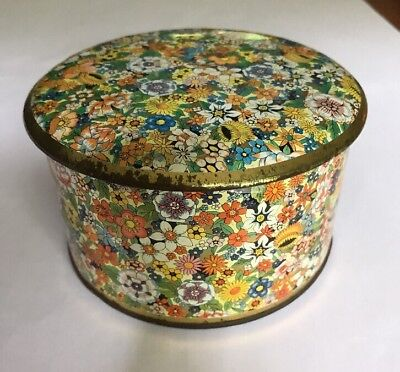 Vtg English England Tea Biscuit Candy Tin Retro Daher Floral Flower With Lid