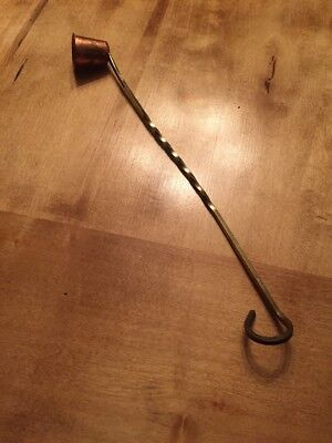 Vintage Twisted Brass Copper Bronze Gold Candle Snuffer 11""