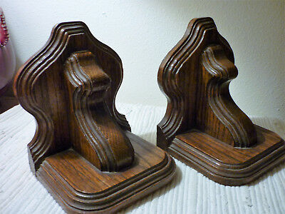 Pair Antique or Vintage Wood/Wooden Bookends Corbel Style