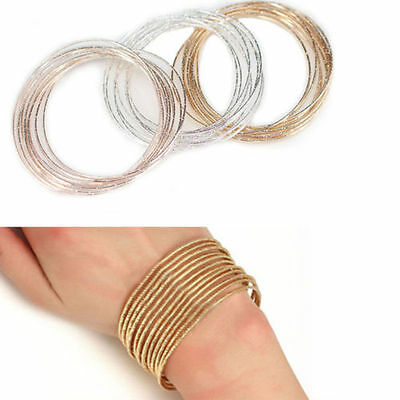 10Pcs/Set Women Bracelet Round Ring Circle Bangle Gold Silver Fashion Jewelry