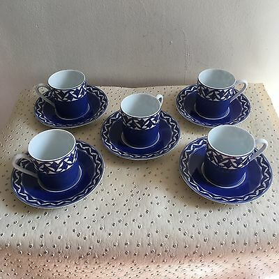 5 Tasses A Café Avec Sous Tasses Limoges Collection Classic Decor Jacques Pergay