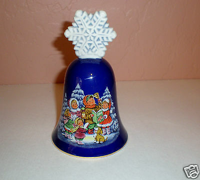 "1987 Cobalt Blue Avon Christmas Bell ""Carolers Design"" Gold Rim-Snowflake Handle"