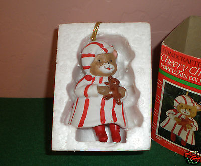 """1986 Hand-Crafted Cheery Chimers """"Teddy Bear"""" Porcelain Collector Bell Ornament"""