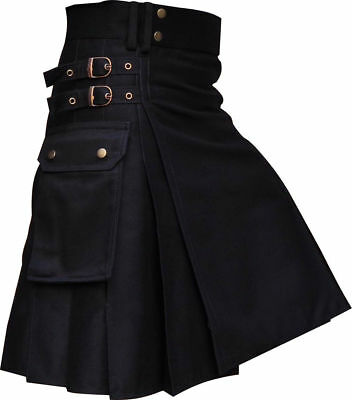 New Black Utility/Wedding Kilt Made Cotton and Delivery in 4 to 5 days
