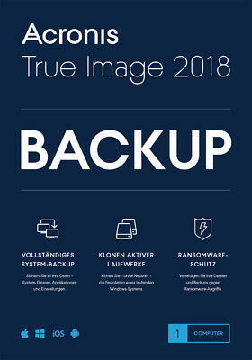 Acronis True Image 2018 1-PC / 2019* Dauerlizenz / Datensicherung/HDD-Copy / KEY