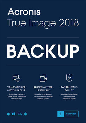 Acronis True Image 2018* 1-PC Dauerlizenz / Datensicherung/HDD-Copy / KEY