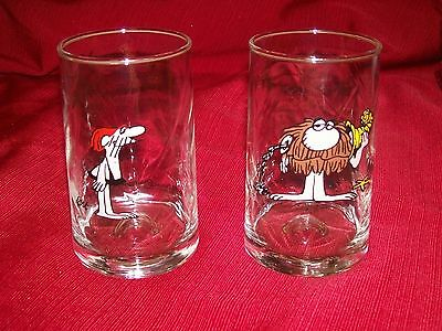 2 Glass Lot VINTAGE 1981 Arbys B.C. ICE AGE COLLECTORS SERIES Johnny Hart