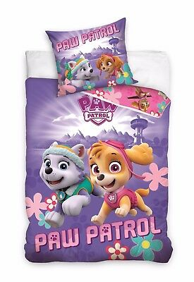 Lovely PAW PATROL Skye and Everest Pups Single Bed Duvet Cover Set 100% COTTON