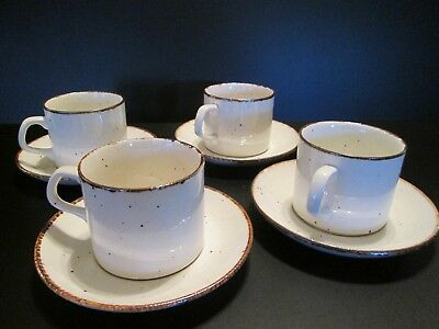 4 Sets J & G Meakin Lifestyle Cups and Saucers Brown Specks Vtg Stoneware