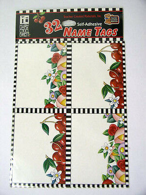 New Mary Engelbreit Name Tags Cherries & Flowers Self adhesive 32 Pack TCM 4905