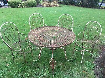 Antique Vtg Rod Iron Patio Furniture, Parlor Chairs, Table & Chairs Shabby Chic