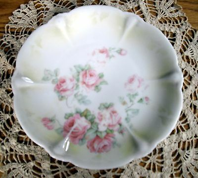 """Vintage Silesia 8 7/8"""" White & Green Plate w/ Pink Roses ~"""