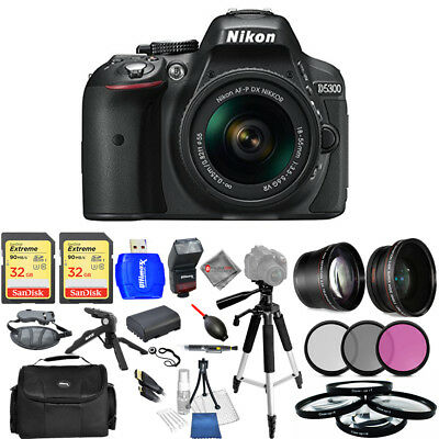 Nikon D5300 DSLR Camera with AF-P 18-55mm VR Lens (Black) - USA Model Mega Kit