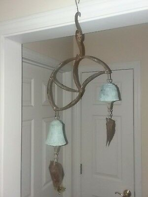 "2 Bronze   Bell Wind chimes 27"" and 4"" Bell"