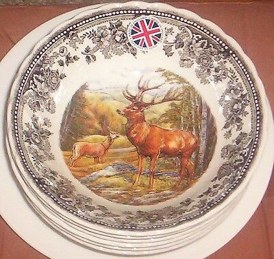 """6 Queen's Quintessential Stag Deer  Oatmeal Cereal Bowls NEW   6 1/4"""""""