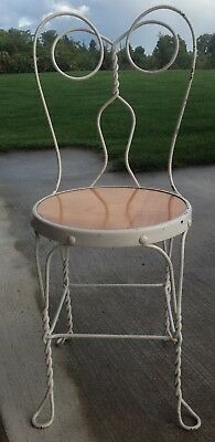 Vintage Antique Wrought Iron Twisted Metal Ice Cream Chair