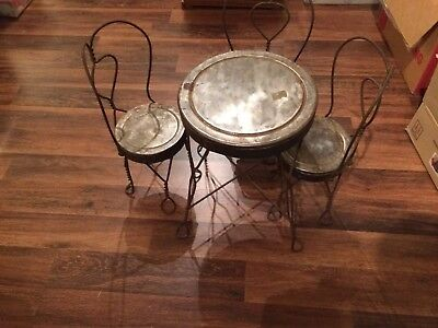 Antique vintage wrought iron twisted metal ice cream parlor chairs (3) w/ table
