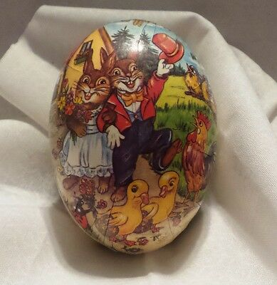 Vintage 1940's German Litho Paper Mache Easter Egg Candy Container Bunnies Ducks