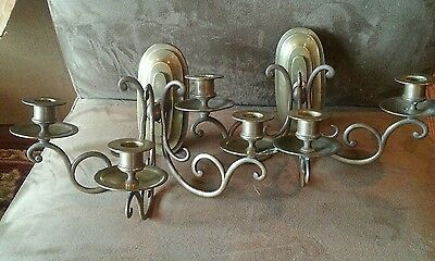 Vintage Pair Of  Brass Sconces  From France!  3 Arms
