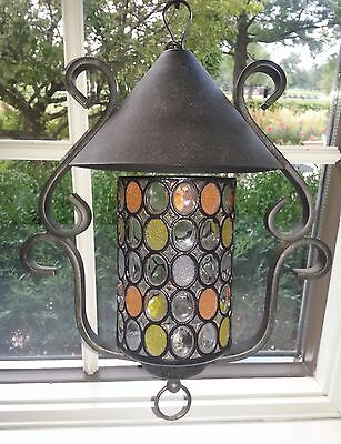 French Vintage Colored Glass Iron Metal Porch Hall Lantern Light