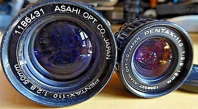 vintage PENTAX AUTO 110 LENSES - 50MM f2.8 & 18MM f2.8 FREE SHIPPING IN THE USA!