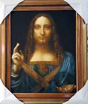 Salvator Mundi, Da Vinci, Original Painting Print on Canvas, Wooden Frame
