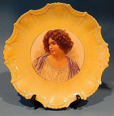 """Antique Empire China Lovely  Victorian Era  Lady Portrait 10 1/2"""" Plate Charger"""