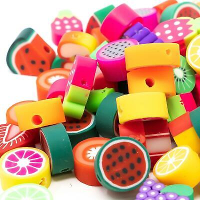 Fruit Fimo Kawaii Polymer Clay Beads In Packs of 50. Assorted Bright Designs