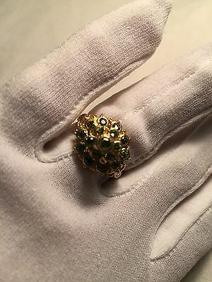 Hand Made Antique Vintage Genuine Green Color CZ Size 8 Brass Ring