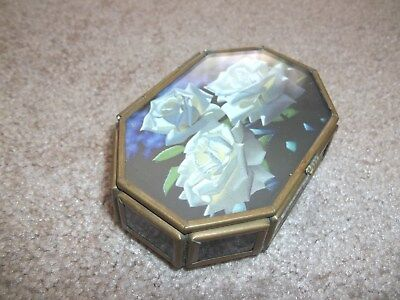 Brass Trinket Box with Stained Glass Panels and Hinged Lid Cover - Mexico