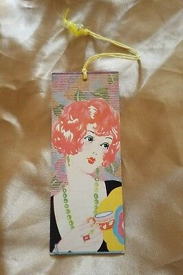 Vintage 1930s Art Deco Bridge Tally w/ Stunning Red Head Woman & Coffee Cup *