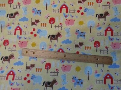 2 Yards Yellow Farm Animal/Cow/Pig/Sheep/Horse/Barn Flannel Fabric