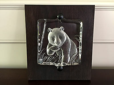 Mats Jonasson Crystal Panda Mounted on Wood Plaque (63005) Made in Sweden BNIB