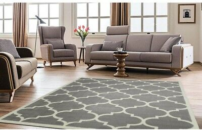 LIVING ROOM AREA Rug Grey Modern Contemporary Home Carpet Moroccan Trellis  Rugs