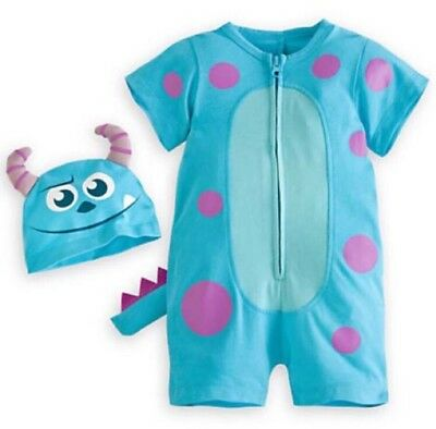 Disney Parks Monsters Inc Sulley Sully Costume Infant Baby 6 Months Romper Hat