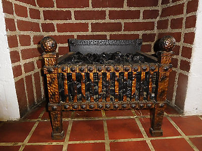 Globe Mfg Electric Fire Grate Cast Iron Glass Black Coal Fireplace Insert WORKS